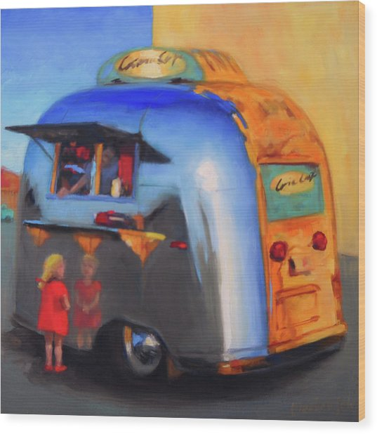 Reflections On An Airstream Wood Print