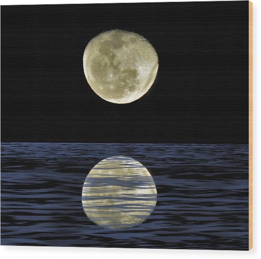 Reflective Moon Wood Print
