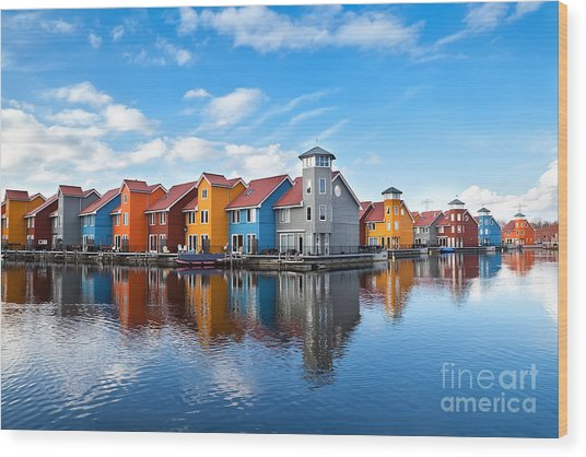 Reitdiephaven - Colorful Buildings On Wood Print