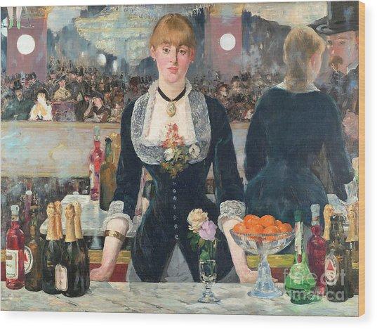 Remastered Art A Bar At The Den Folies Bergere By Edouard Manet 20190309 Wood Print