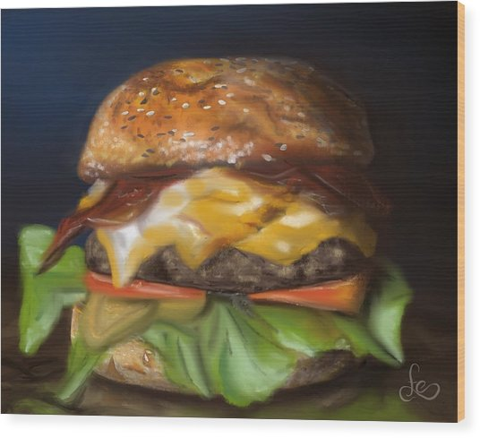 Wood Print featuring the pastel Renaissance Burger  by Fe Jones