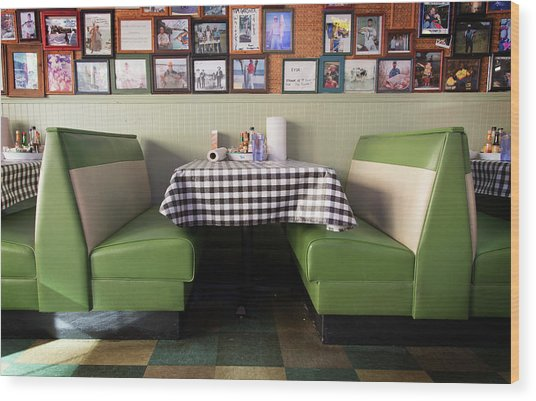 Restaurant Booth Wood Print