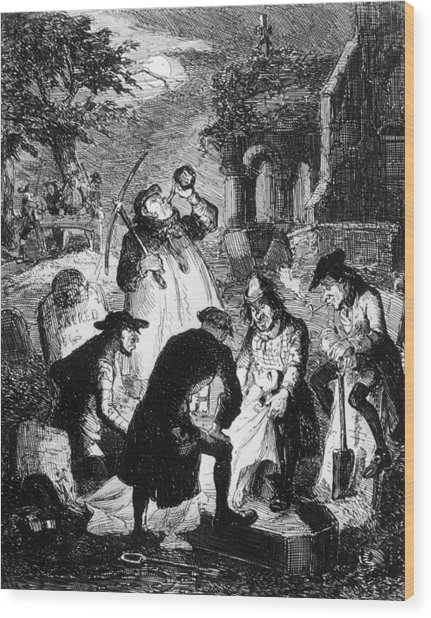 Resurrectionists At Work Wood Print by Hulton Archive