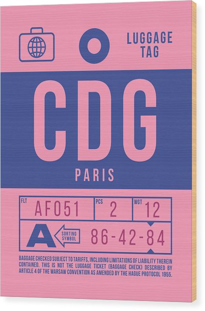 Retro Airline Luggage Tag 2.0 - Cdg Paris Charles De Gaulle France Wood Print