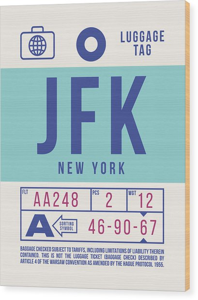Retro Airline Luggage Tag 2.0 - Jfk New York United States Wood Print