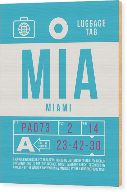 Retro Airline Luggage Tag 2.0 - Mia Miami International Airport United States Wood Print