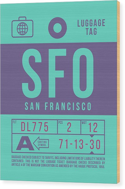 Retro Airline Luggage Tag 2.0 - Sfo San Francisco International Airport United States Wood Print
