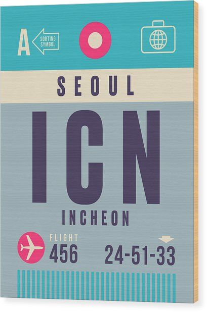 Retro Airline Luggage Tag - Icn Seoul Incheon Wood Print