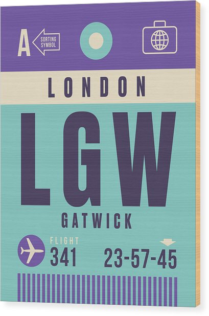Retro Airline Luggage Tag - Lgw London Gatwick Airport Wood Print