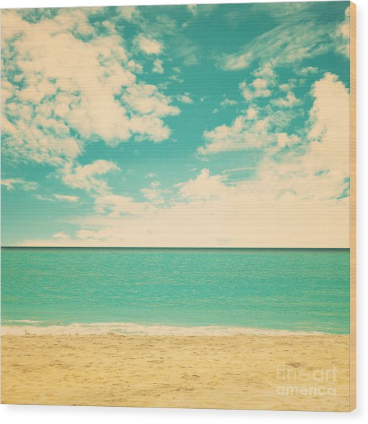 Retro Beach Wood Print
