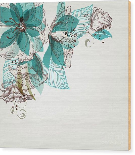 Retro Flowers Vector Illustration Wood Print