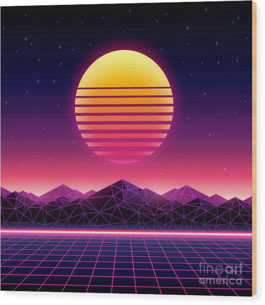 Retro Futuristic Background 1980s Wood Print