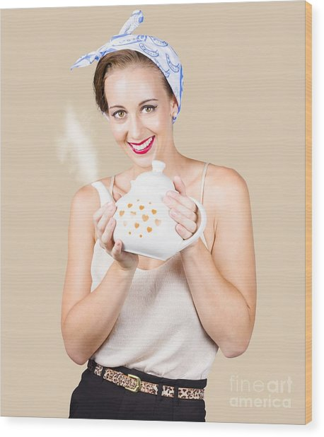 Retro Housewife With Teapot Wood Print