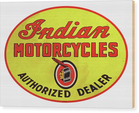 Retro Indian Motorcycles Wood Print