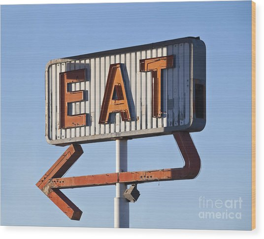 Retro Neon Eat Sign Ruin In Early Wood Print