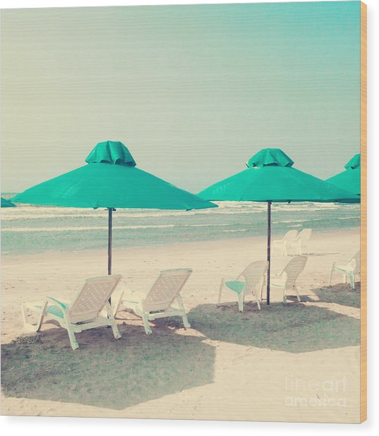 Retro Pastel Beach Wood Print by Andrekart Photography