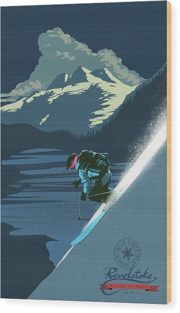 Retro Revelstoke Ski Poster Wood Print