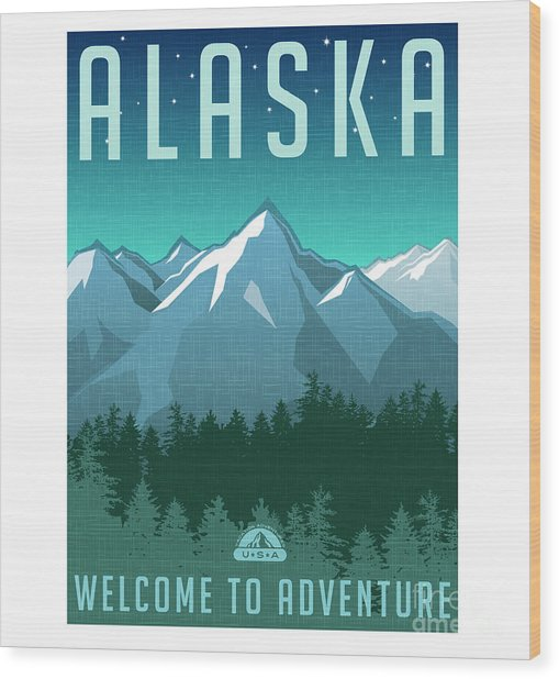Retro Style Travel Poster Or Sticker Wood Print