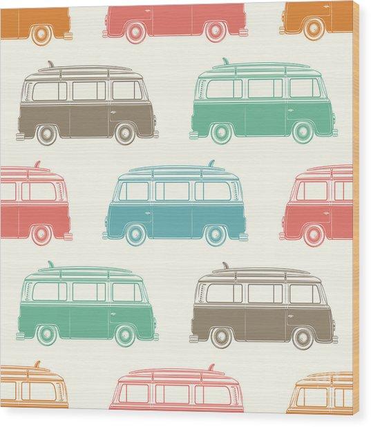 Retro, Vintage, Travel, Camper Van Wood Print