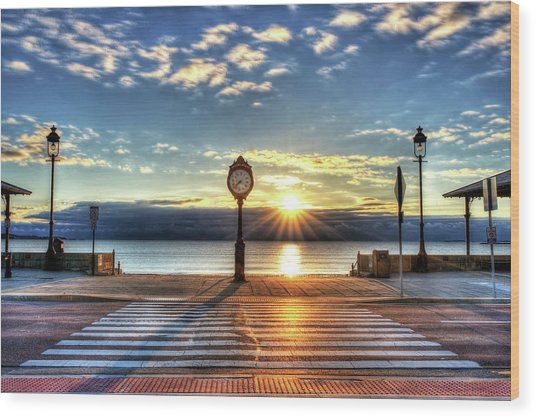 Revere Beach Clock At Sunrise Angled Long Shadow Revere Ma Wood Print
