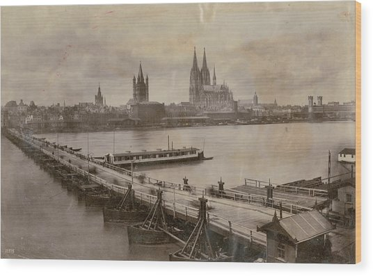 Rhine In Cologne Wood Print by Hulton Archive