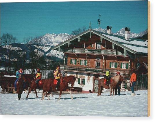 Riders At The Erbhof Wood Print