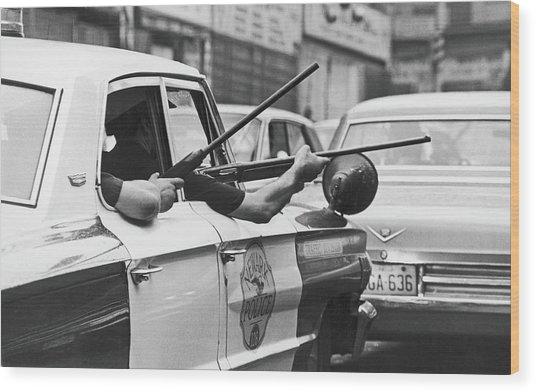 Riding Shotgun During Newark Riots, 1967 Wood Print