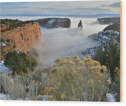Rim Rock Drive View Of Fogged Independence Canyon Wood Print