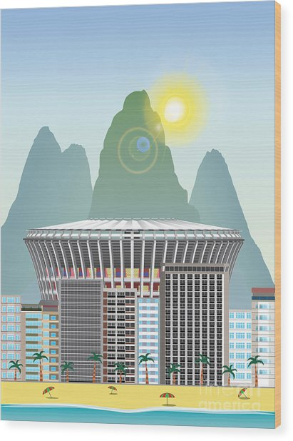 Rio Landmark Wood Print by Nikola Knezevic