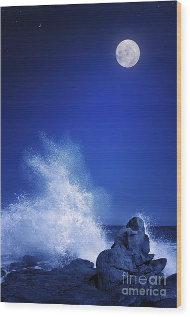Rising Moon Over Rocky Coastline At Wood Print
