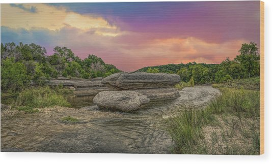 River Erosion At Sunset Wood Print