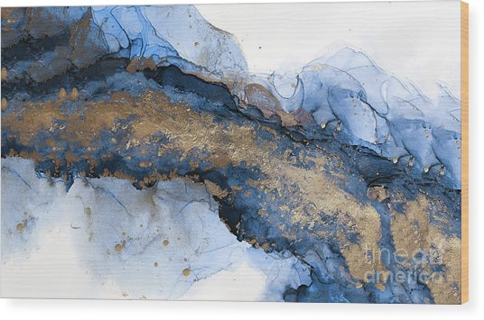 River Of Blue And Gold Abstract Painting Wood Print