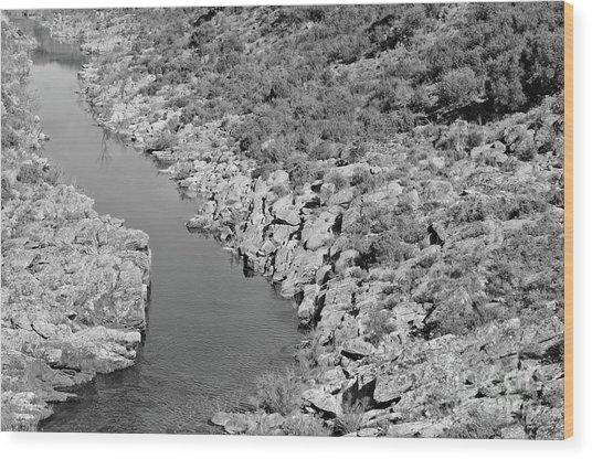 River On The Rocks. Bw Version Wood Print