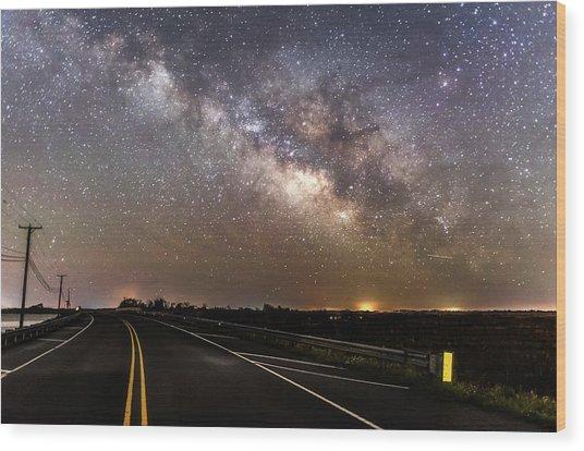 Road To Milky Way Wood Print