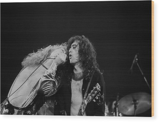 Robert Plant And Jimmy Page Wood Print by Art Zelin