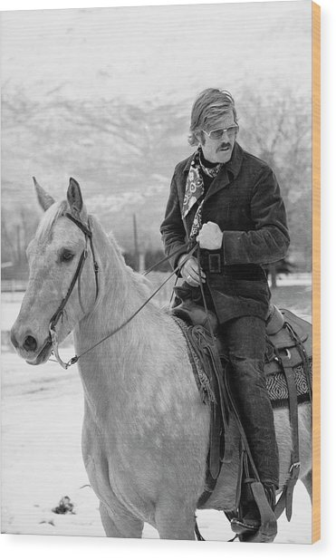 Robert Redford On A Horse Wood Print by John Dominis
