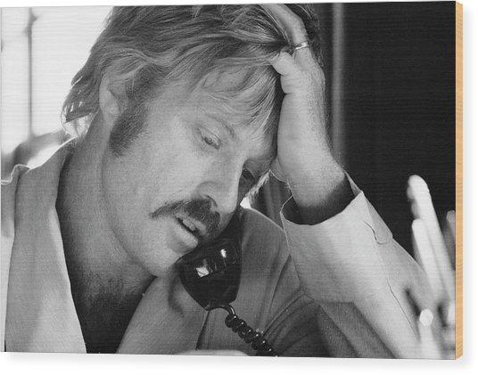 Robert Redford On The Phone Wood Print by John Dominis