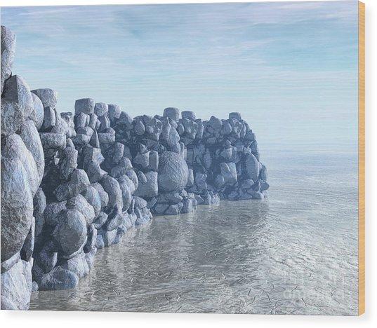 Rock And Ice Wood Print