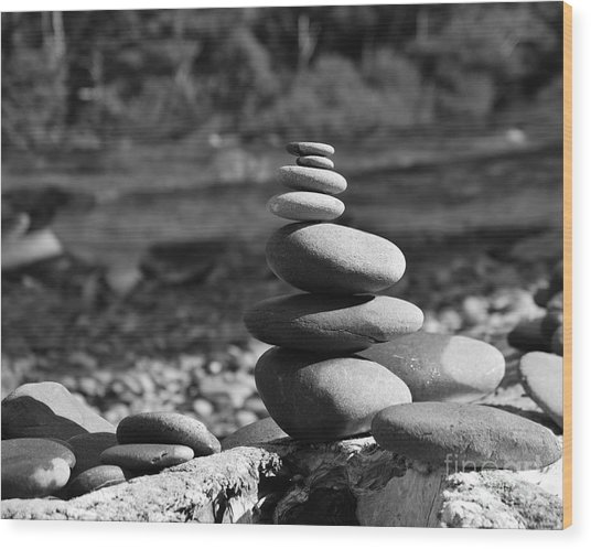 Rock Zen 7 Wood Print