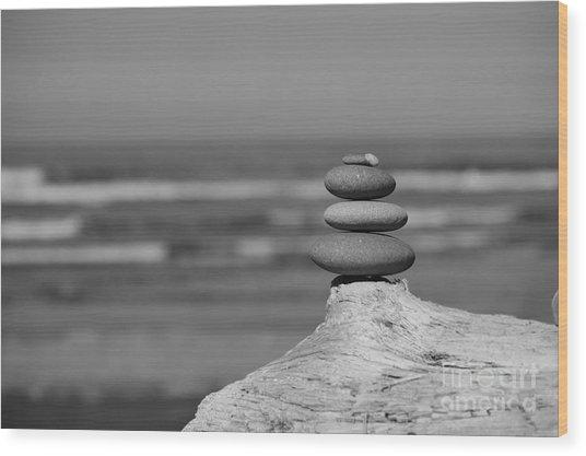Rock Zen I Wood Print