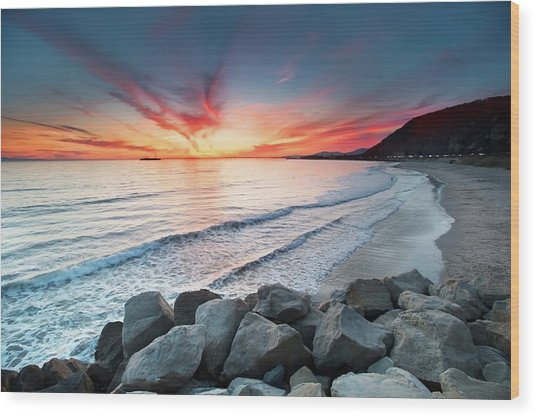 Rocks On Sea Wood Print
