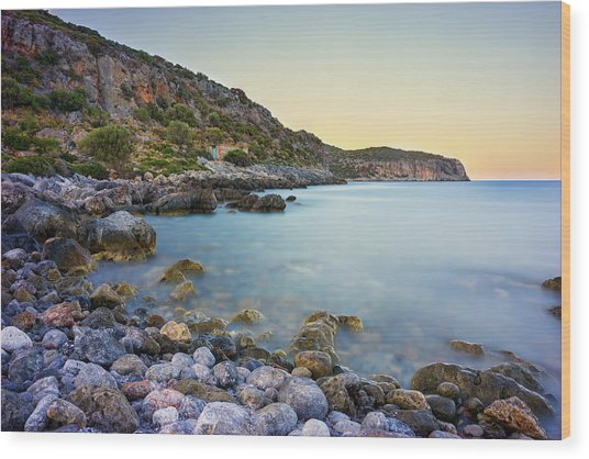 Rocky Coast Near Monemvasia Wood Print