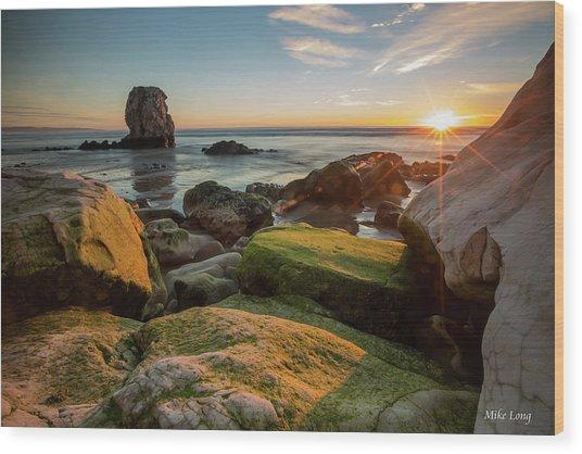Rocky Pismo Sunset Wood Print