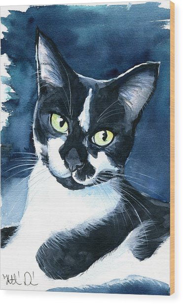 Rollie Tuxedo Cat Painting Wood Print