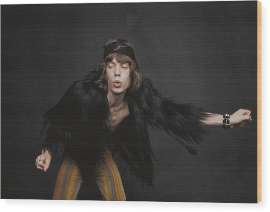 Rolling Stones Singer Wood Print by Michael Ochs Archives