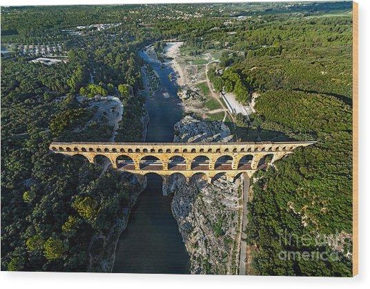 Roman Aqueduct, Pont Du Gard Wood Print