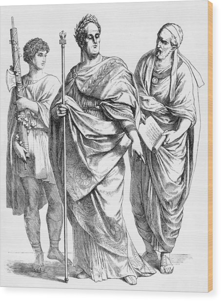 Roman Garb Wood Print by Hulton Archive