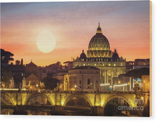Roman Sunset Wood Print
