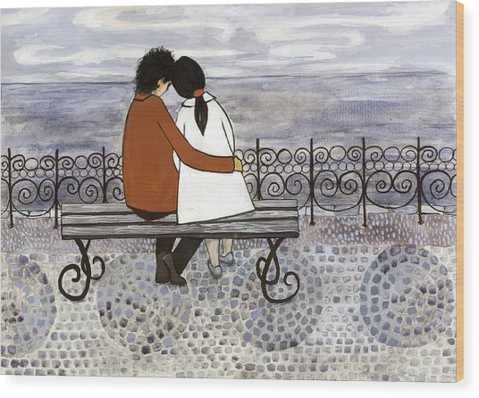 Romance On The Sea Side Wood Print by Georgiana Chitac
