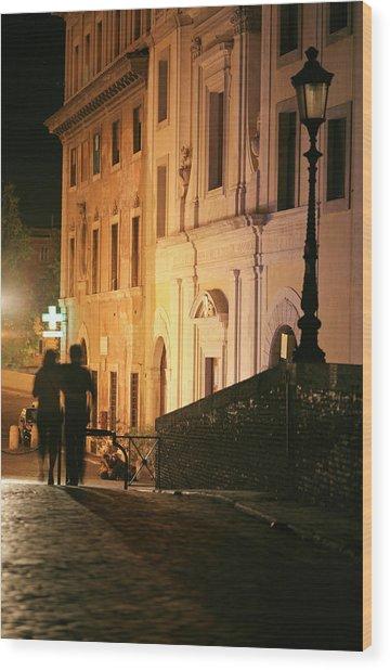 Romantic Rome, Latenight Couple In Wood Print